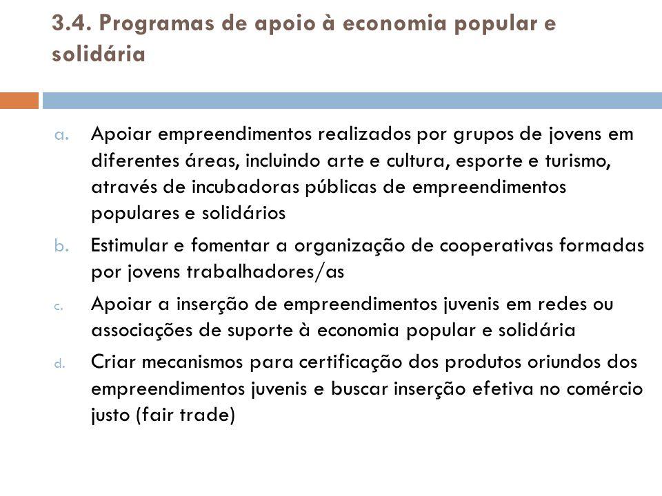 3.5.Programas de apoio ao associativismo e empreendedorismo a.