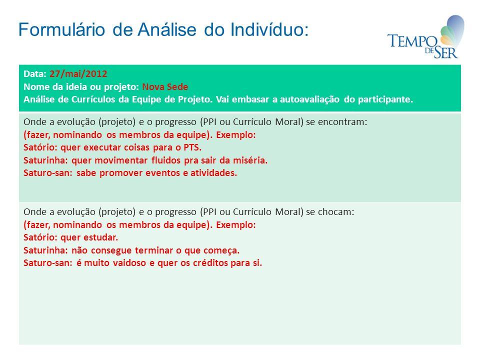 Formulário de Análise do Indivíduo: Data: 27/mai/2012 Nome da ideia ou projeto: Nova Sede Análise de Currículos da Equipe de Projeto. Vai embasar a au