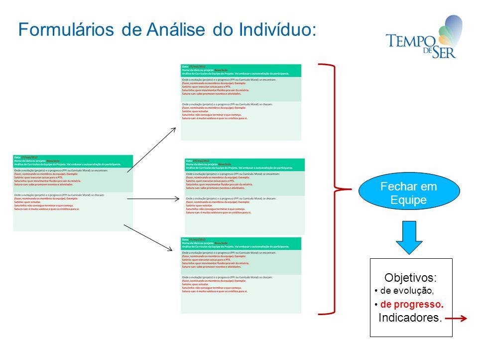 Formulários de Análise do Indivíduo: Fechar em Equipe Objetivos: de evolução, de progresso. Indicadores.