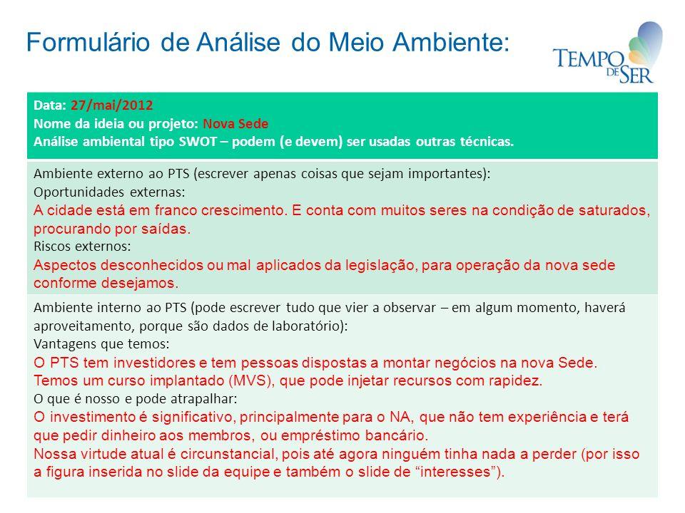 Formulário de Análise do Meio Ambiente: Data: 27/mai/2012 Nome da ideia ou projeto: Nova Sede Análise ambiental tipo SWOT – podem (e devem) ser usadas outras técnicas.