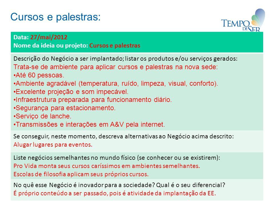 Cursos e palestras: Data: 27/mai/2012 Nome da ideia ou projeto: Cursos e palestras Descrição do Negócio a ser implantado; listar os produtos e/ou serv