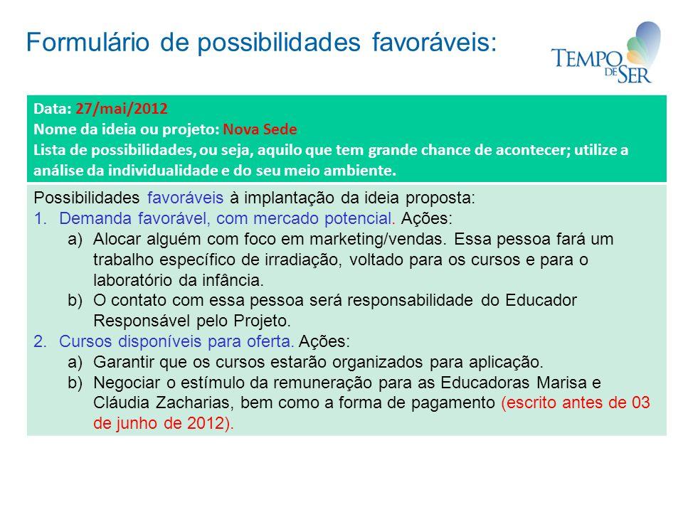 Formulário de possibilidades favoráveis: Data: 27/mai/2012 Nome da ideia ou projeto: Nova Sede Lista de possibilidades, ou seja, aquilo que tem grande chance de acontecer; utilize a análise da individualidade e do seu meio ambiente.