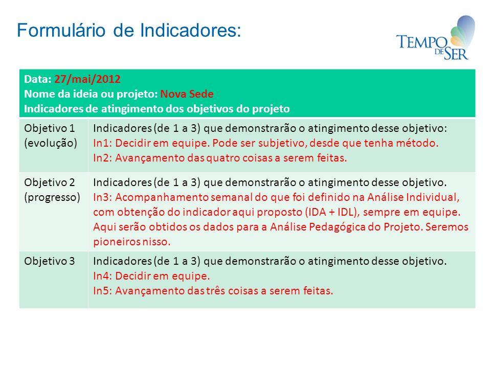 Formulário de Indicadores: Data: 27/mai/2012 Nome da ideia ou projeto: Nova Sede Indicadores de atingimento dos objetivos do projeto Objetivo 1 (evolução) Indicadores (de 1 a 3) que demonstrarão o atingimento desse objetivo: In1: Decidir em equipe.