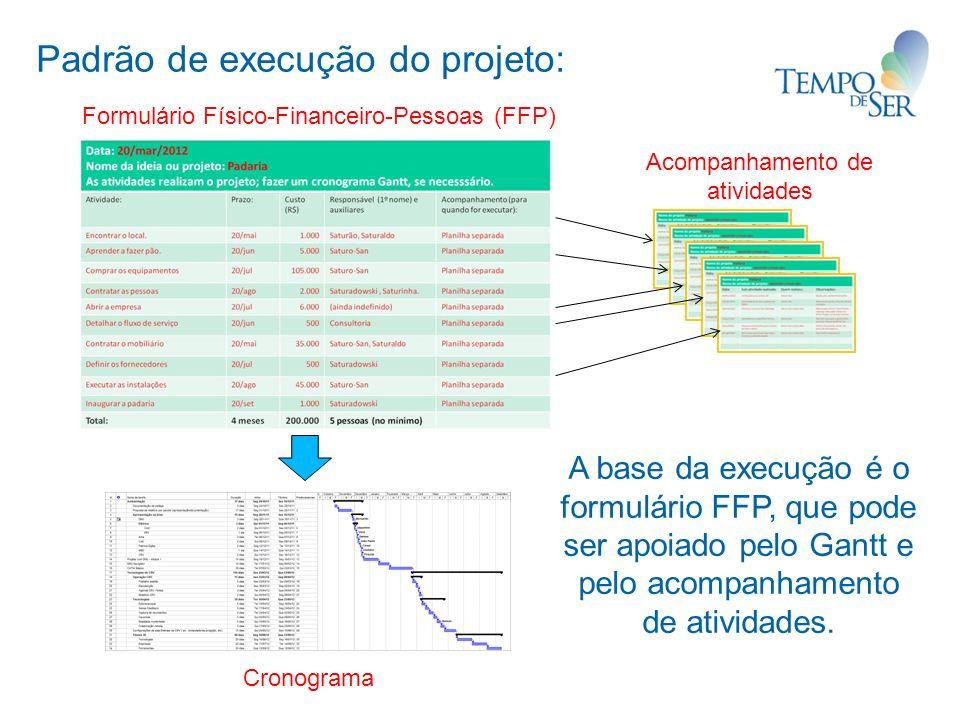 Padrão de execução do projeto: Cronograma Formulário Físico-Financeiro-Pessoas (FFP) Acompanhamento de atividades A base da execução é o formulário FFP, que pode ser apoiado pelo Gantt e pelo acompanhamento de atividades.