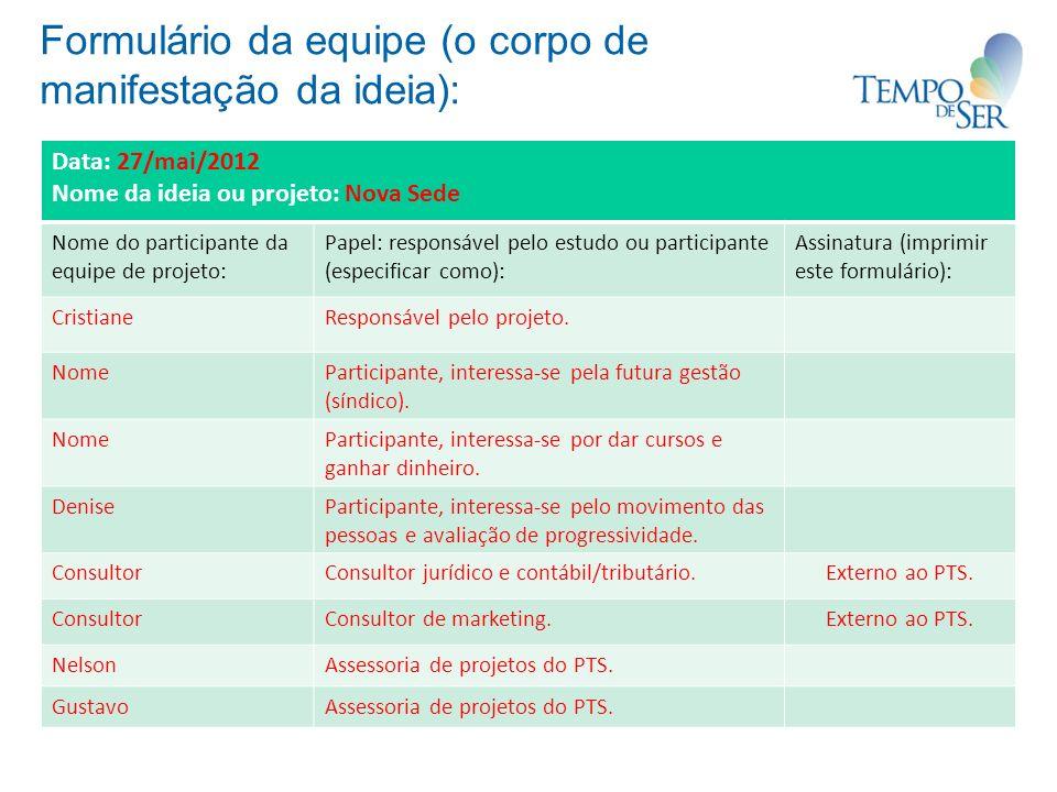 Formulário da equipe (o corpo de manifestação da ideia): Data: 27/mai/2012 Nome da ideia ou projeto: Nova Sede Nome do participante da equipe de proje