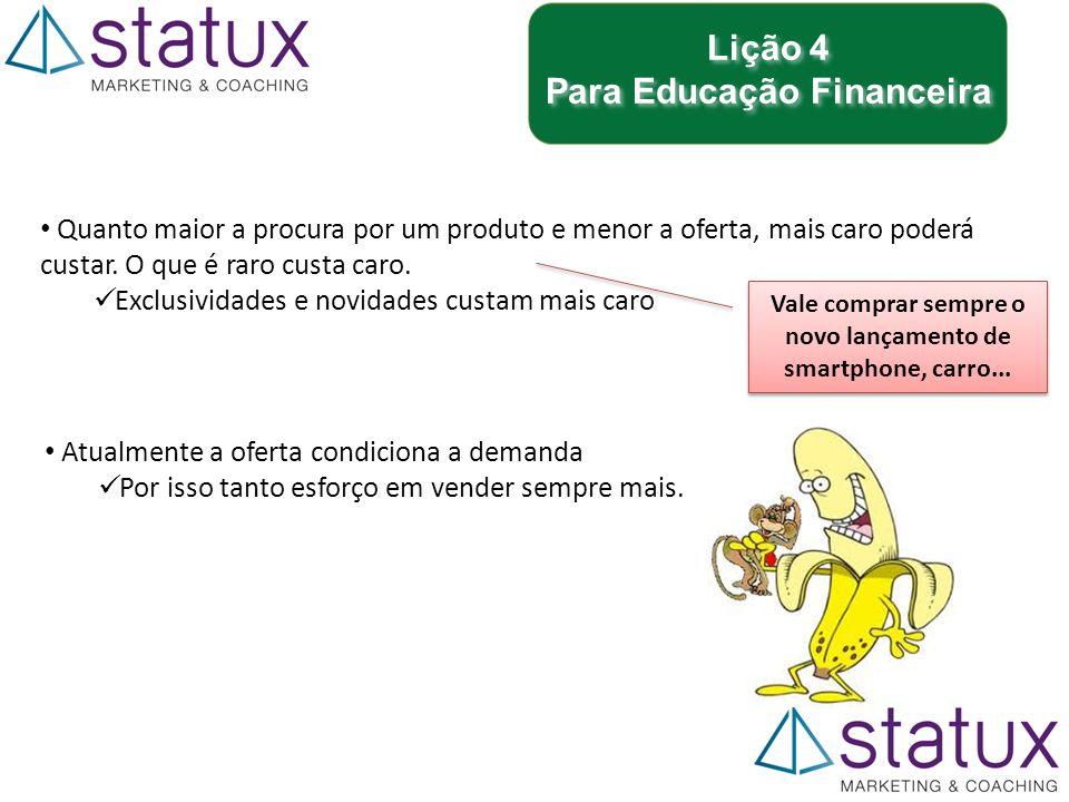 Lição 4 Para Educação Financeira Lição 4 Para Educação Financeira Atualmente a oferta condiciona a demanda Por isso tanto esforço em vender sempre mais.