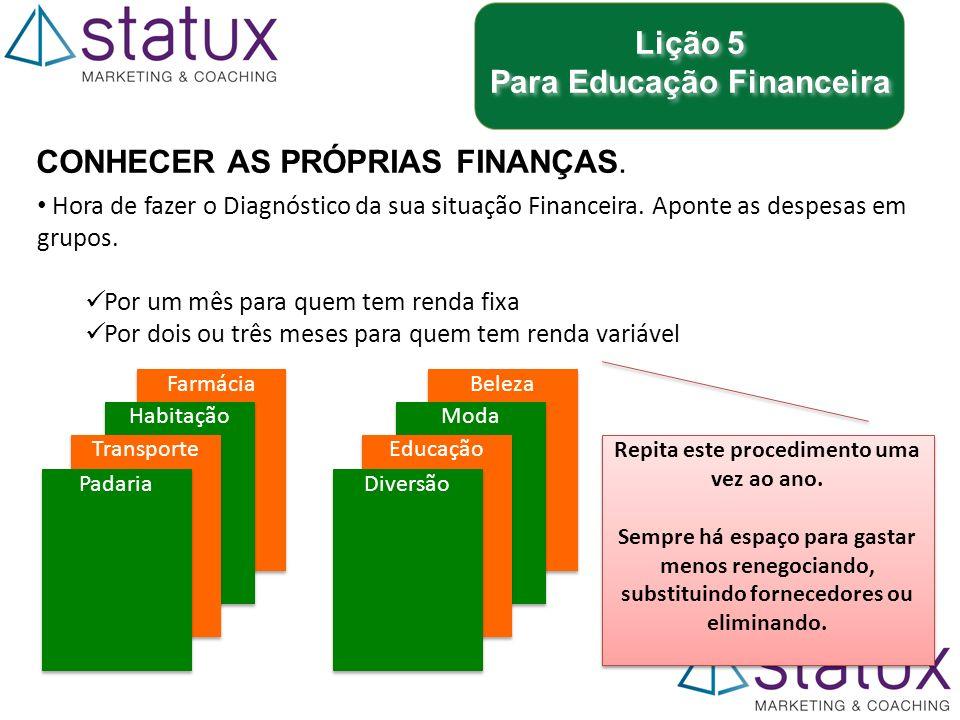 Lição 5 Para Educação Financeira Lição 5 Para Educação Financeira CONHECER AS PRÓPRIAS FINANÇAS.