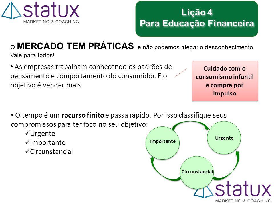 Lição 4 Para Educação Financeira Lição 4 Para Educação Financeira O MERCADO TEM PRÁTICAS e não podemos alegar o desconhecimento.