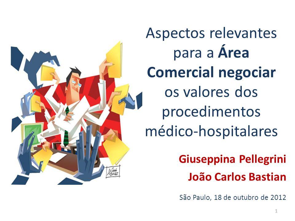 Aspectos relevantes para a Área Comercial negociar os valores dos procedimentos médico-hospitalares Giuseppina Pellegrini João Carlos Bastian São Paul