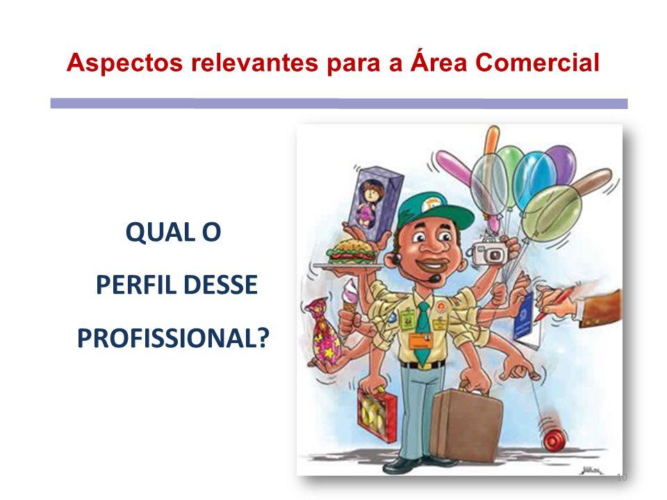 Aspectos relevantes para a Área Comercial 10 QUAL O PERFIL DESSE PROFISSIONAL?