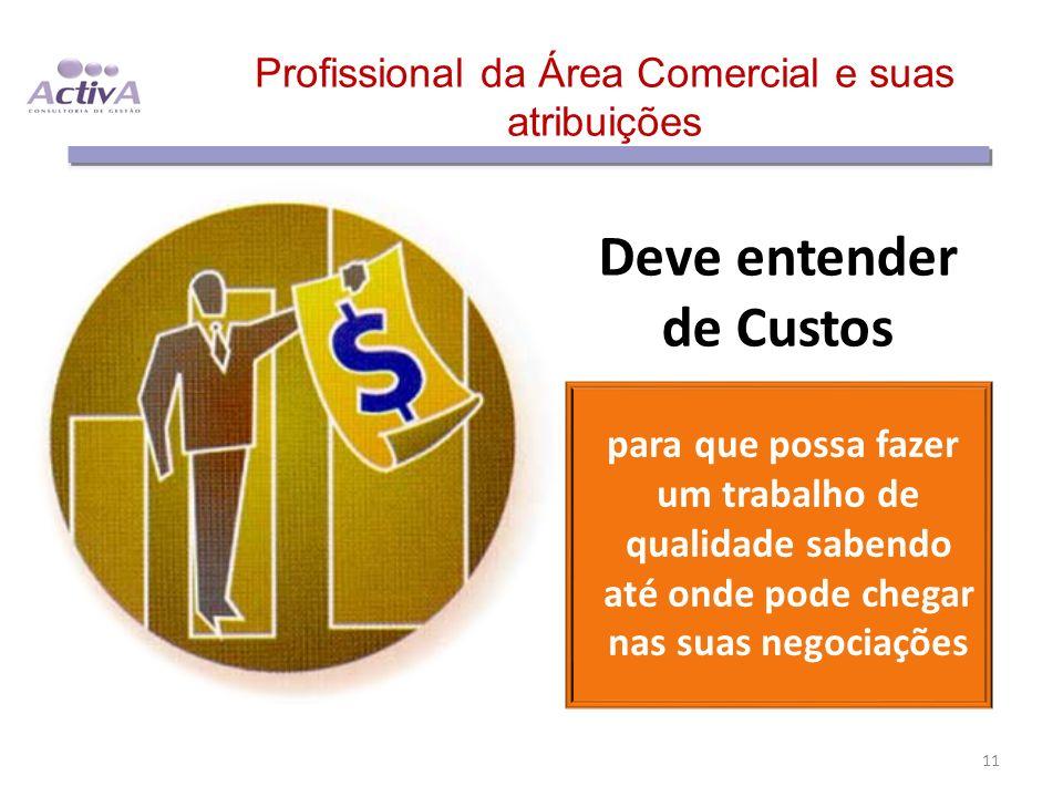 Profissional da Área Comercial e suas atribuições Deve entender de Custos para que possa fazer um trabalho de qualidade sabendo até onde pode chegar n