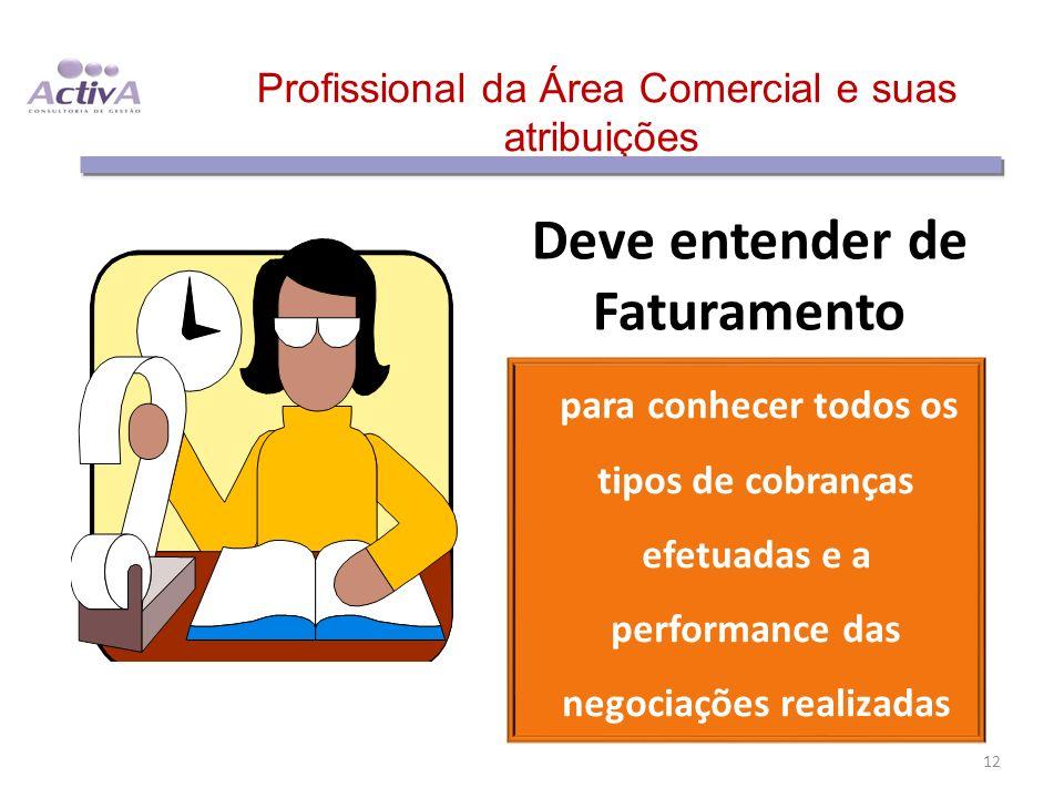 Profissional da Área Comercial e suas atribuições Deve entender de Faturamento para conhecer todos os tipos de cobranças efetuadas e a performance das