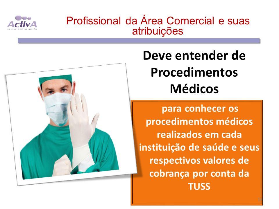 Deve entender de Procedimentos Médicos para conhecer os procedimentos médicos realizados em cada instituição de saúde e seus respectivos valores de co