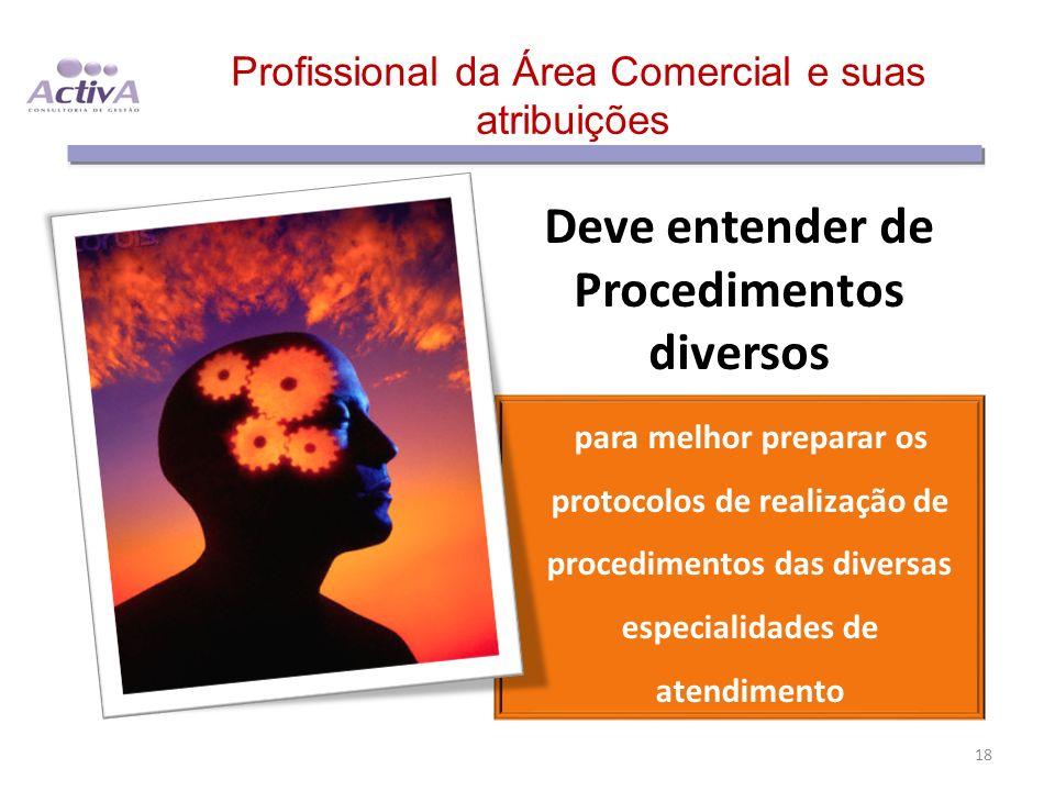 Profissional da Área Comercial e suas atribuições Deve entender de Procedimentos diversos para melhor preparar os protocolos de realização de procedim