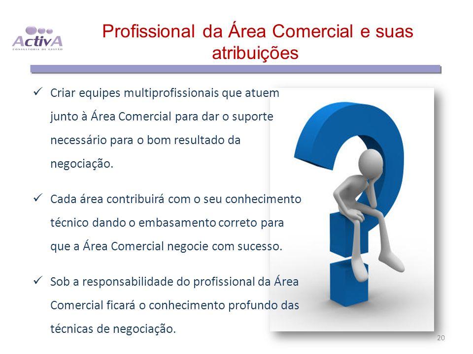 Profissional da Área Comercial e suas atribuições 20 Criar equipes multiprofissionais que atuem junto à Área Comercial para dar o suporte necessário p