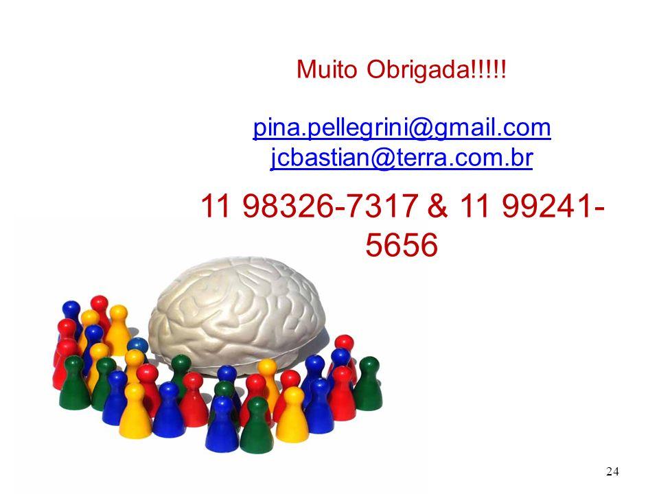 24 Muito Obrigada!!!!! pina.pellegrini@gmail.com jcbastian@terra.com.br 11 98326-7317 & 11 99241- 5656