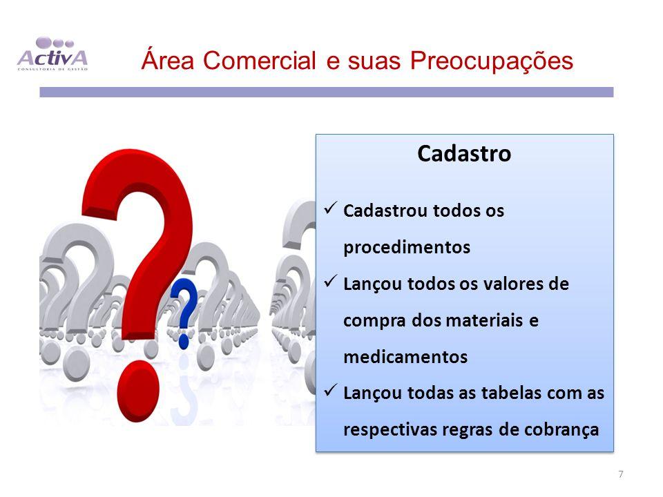 Área Comercial e suas Preocupações 7 Cadastro Cadastrou todos os procedimentos Lançou todos os valores de compra dos materiais e medicamentos Lançou t