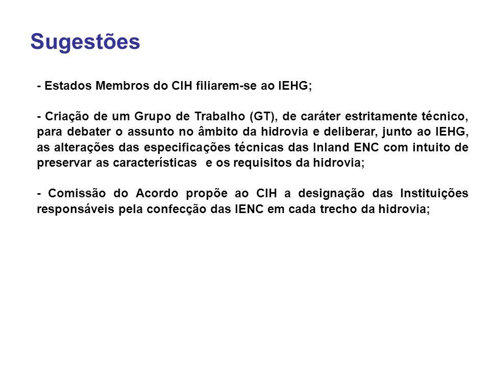 Sugestões - Estados Membros do CIH filiarem-se ao IEHG; - Criação de um Grupo de Trabalho (GT), de caráter estritamente técnico, para debater o assunto no âmbito da hidrovia e deliberar, junto ao IEHG, as alterações das especificações técnicas das Inland ENC com intuito de preservar as características e os requisitos da hidrovia; - Comissão do Acordo propõe ao CIH a designação das Instituições responsáveis pela confecção das IENC em cada trecho da hidrovia;