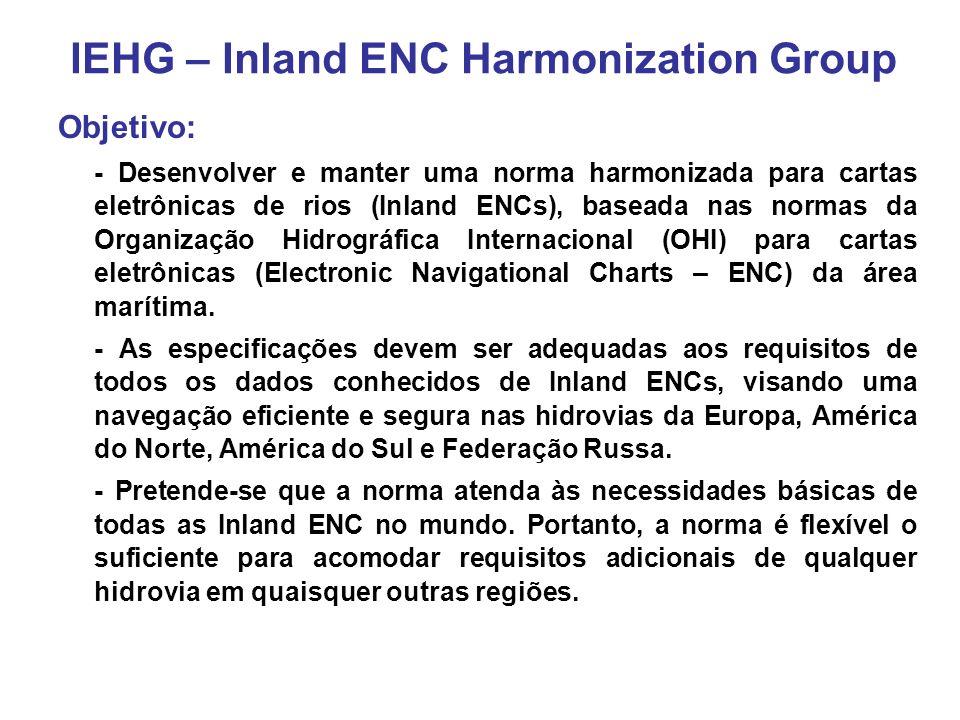 - Formado em 2003 pelos EUA e Europa para facilitar o desenvolvimento de padrões internacionais para os dados de cartas eletrônicas de águas interiores (Inland ENC); - Congrega representantes de setores governamentais, industriais e acadêmicos; - Os representantes europeus fazem parte do European Inland ECDIS Expert Group; - Os representantes norte-americanos são membros do North American Inland ENC Ad Hoc Working Group, formado em 2002; - Rússia iniciou sua participação logo depois da formação do IEHG; - A Diretoria de Hidrografia e Navegação (DHN) se juntou ao grupo em 2007.