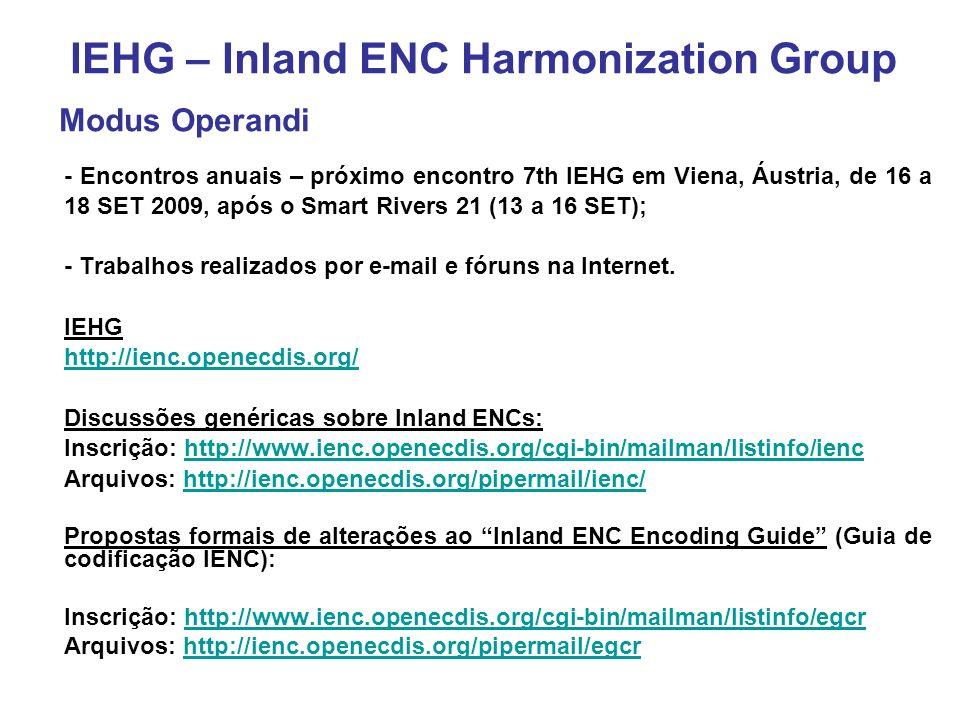- Encontros anuais – próximo encontro 7th IEHG em Viena, Áustria, de 16 a 18 SET 2009, após o Smart Rivers 21 (13 a 16 SET); - Trabalhos realizados por e-mail e fóruns na Internet.