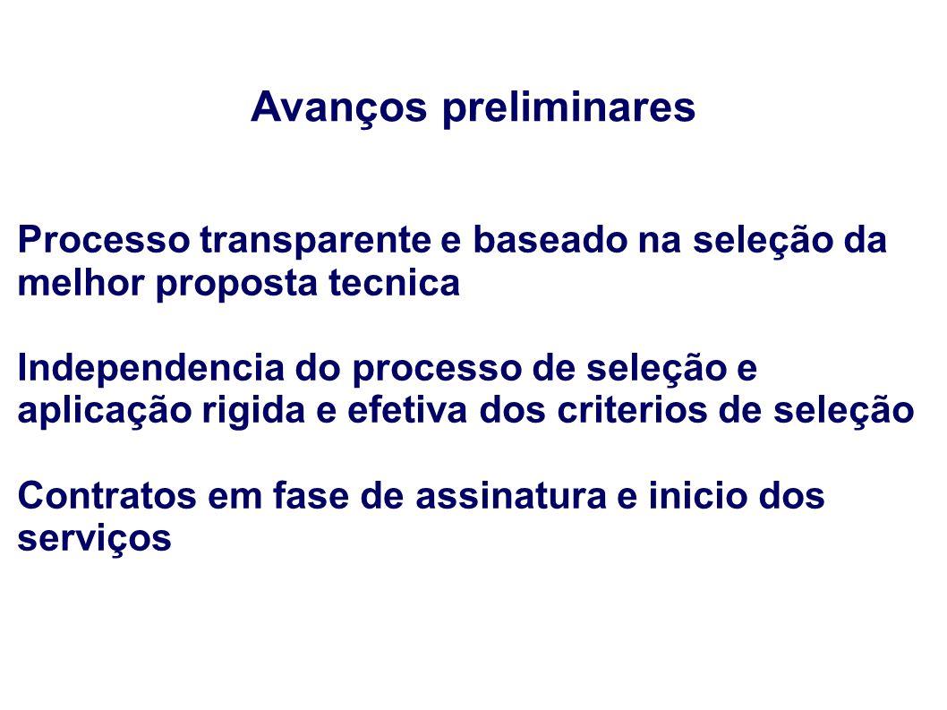 Avanços preliminares Processo transparente e baseado na seleção da melhor proposta tecnica Independencia do processo de seleção e aplicação rigida e e