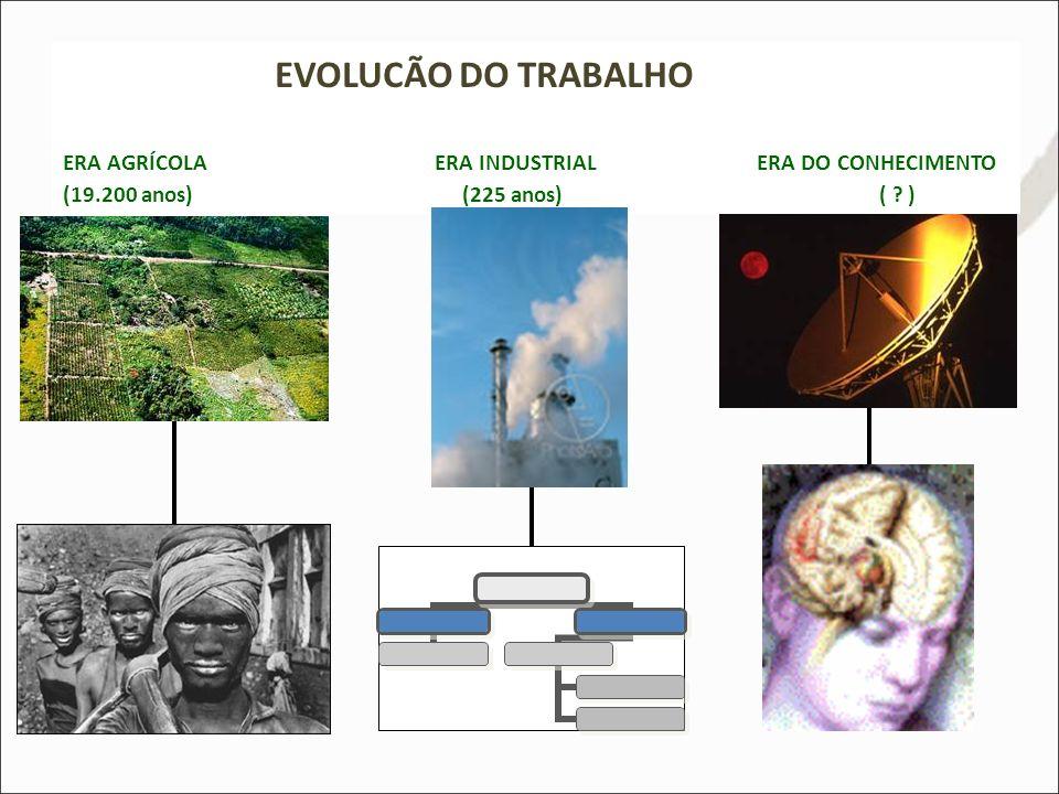 EVOLUCÃO DO TRABALHO ERA AGRÍCOLA ERA INDUSTRIAL ERA DO CONHECIMENTO (19.200 anos) (225 anos) ( ? )