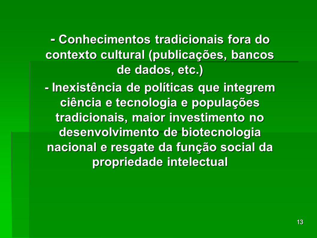 13 - Conhecimentos tradicionais fora do contexto cultural (publicações, bancos de dados, etc.) - Inexistência de políticas que integrem ciência e tecn