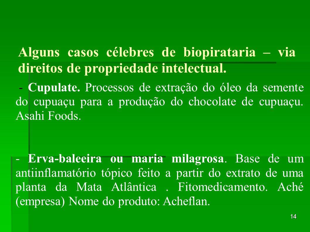 14 Alguns casos célebres de biopirataria – via direitos de propriedade intelectual. - Cupulate. Processos de extração do óleo da semente do cupuaçu pa