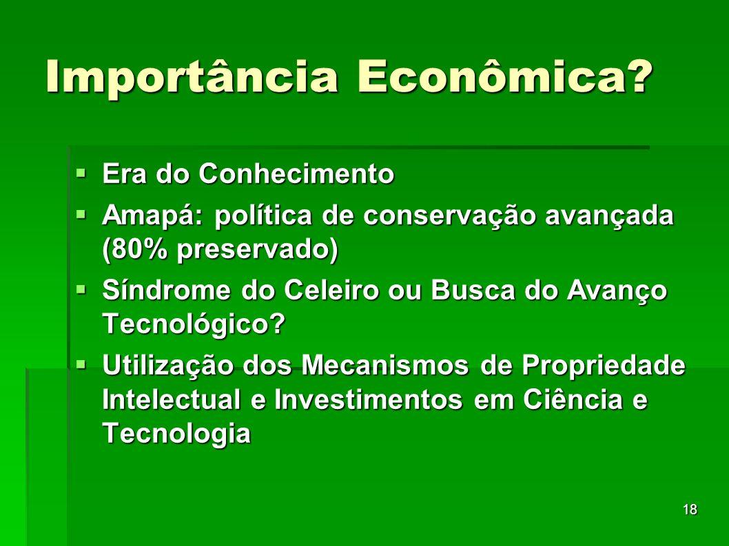 18 Importância Econômica? Era do Conhecimento Era do Conhecimento Amapá: política de conservação avançada (80% preservado) Amapá: política de conserva