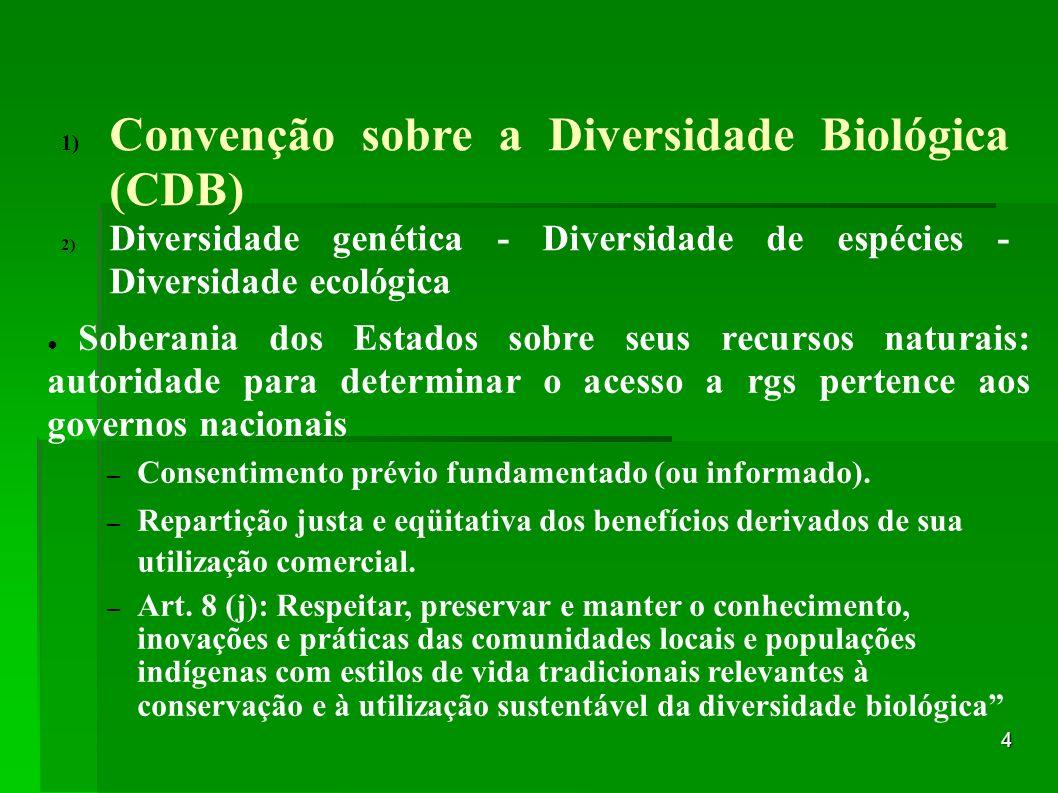 4 1) Convenção sobre a Diversidade Biológica (CDB) 2) Diversidade genética - Diversidade de espécies - Diversidade ecológica Soberania dos Estados sob