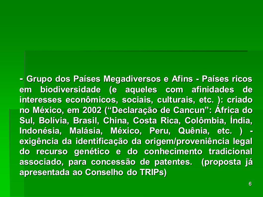 6 - Grupo dos Países Megadiversos e Afins - Países ricos em biodiversidade (e aqueles com afinidades de interesses econômicos, sociais, culturais, etc