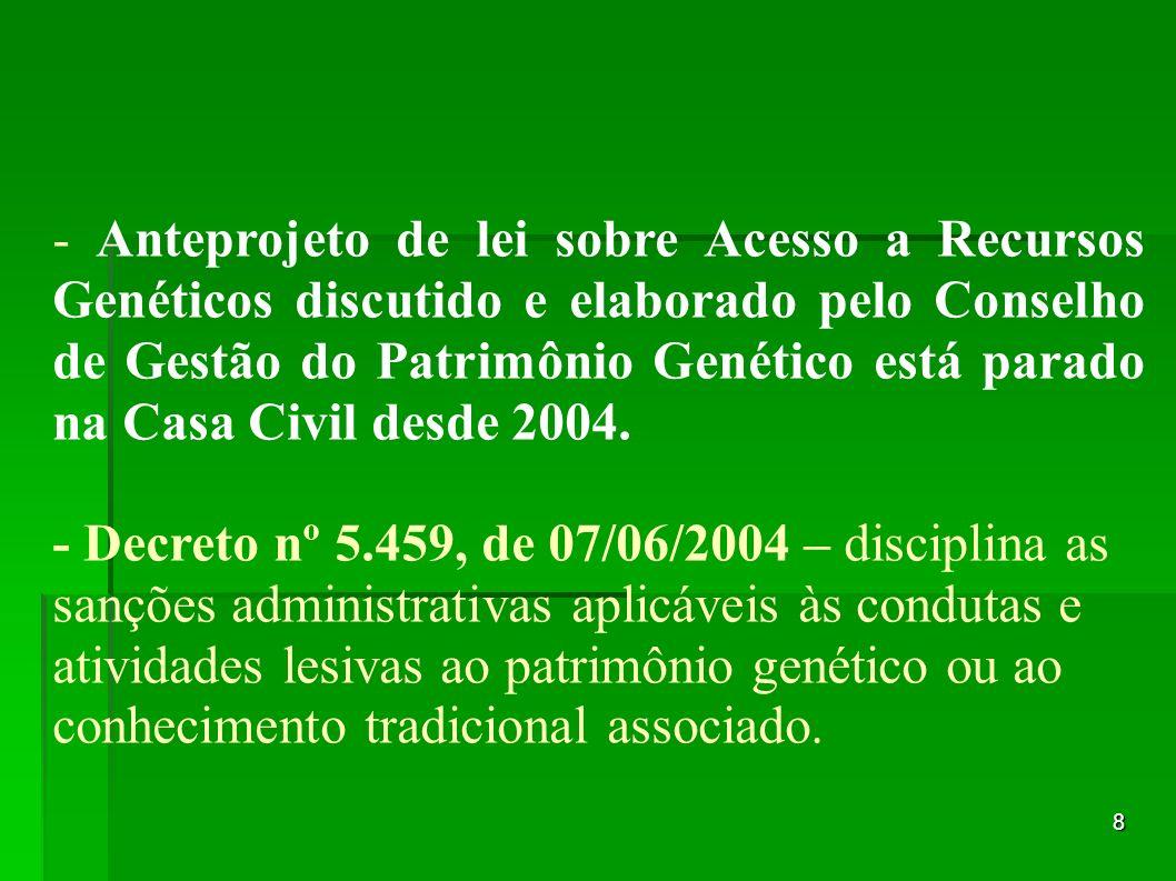 8 - Anteprojeto de lei sobre Acesso a Recursos Genéticos discutido e elaborado pelo Conselho de Gestão do Patrimônio Genético está parado na Casa Civi