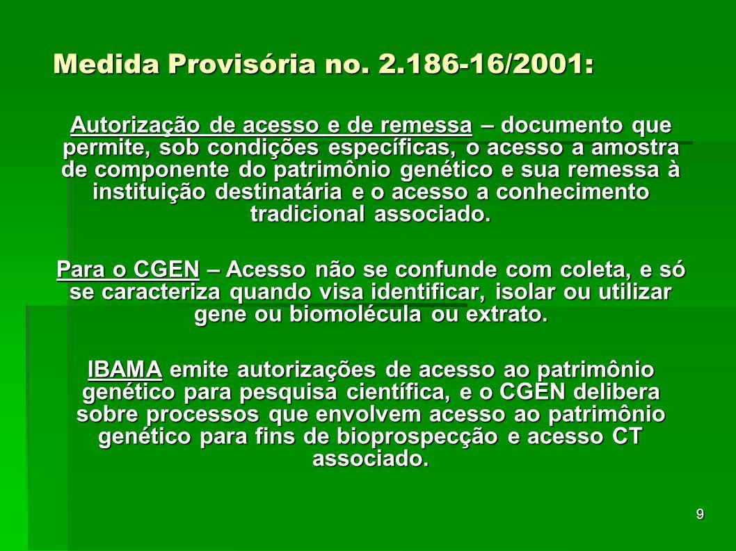 9 Medida Provisória no. 2.186-16/2001: Autorização de acesso e de remessa – documento que permite, sob condições específicas, o acesso a amostra de co