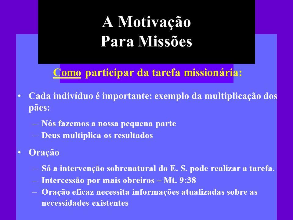 A Motivação Para Missões Cada indivíduo é importante: exemplo da multiplicação dos pães: –Nós fazemos a nossa pequena parte –Deus multiplica os result