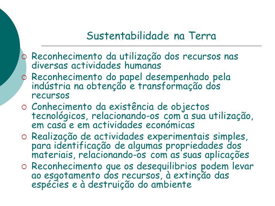 Sustentabilidade na Terra Reconhecimento da utilização dos recursos nas diversas actividades humanas Reconhecimento do papel desempenhado pela indústr