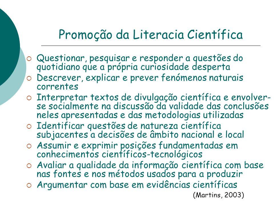 Promoção da Literacia Científica Questionar, pesquisar e responder a questões do quotidiano que a própria curiosidade desperta Descrever, explicar e p