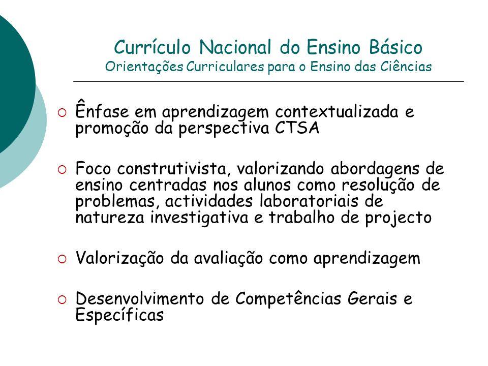 Currículo Nacional do Ensino Básico Orientações Curriculares para o Ensino das Ciências Ênfase em aprendizagem contextualizada e promoção da perspecti