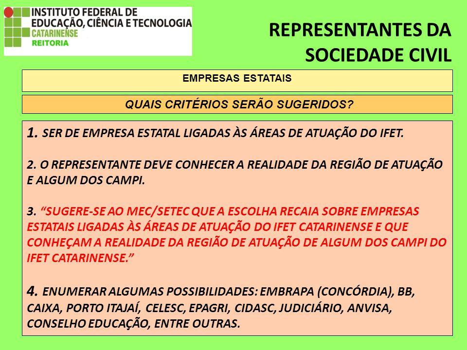 REPRESENTANTES DA SOCIEDADE CIVIL EMPRESAS ESTATAIS 1.