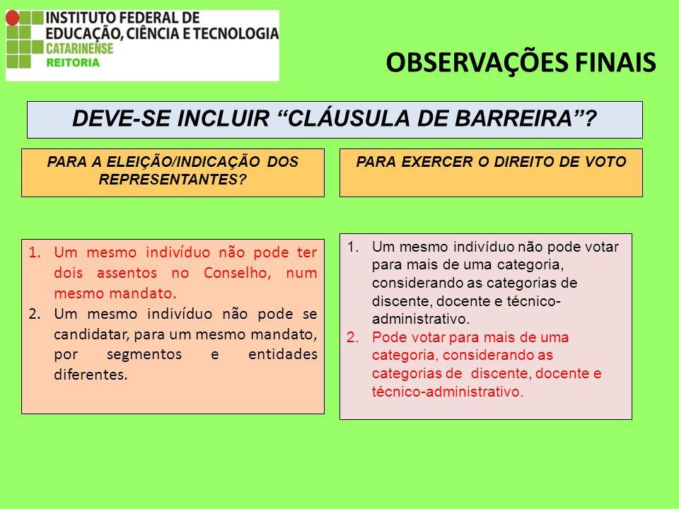OBSERVAÇÕES FINAIS 1.Um mesmo indivíduo não pode ter dois assentos no Conselho, num mesmo mandato.