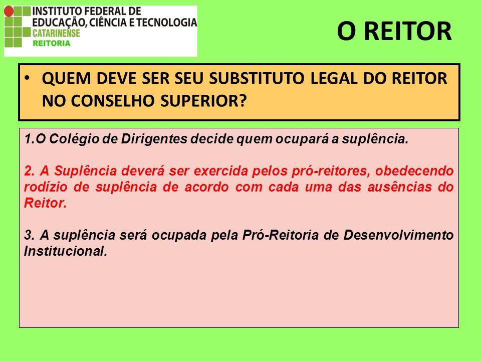 O REITOR QUEM DEVE SER SEU SUBSTITUTO LEGAL DO REITOR NO CONSELHO SUPERIOR.
