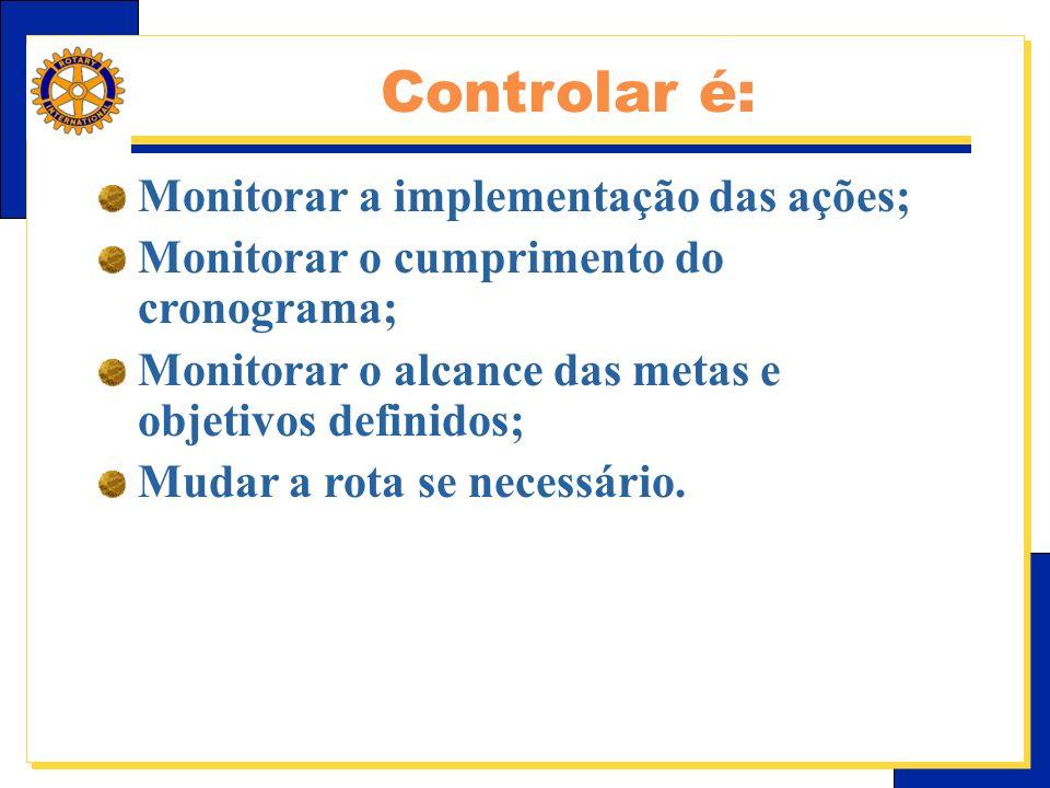 E-Learning Center do Rotary – Relações públicas Monitorar a implementação das ações; Monitorar o cumprimento do cronograma; Monitorar o alcance das metas e objetivos definidos; Mudar a rota se necessário.
