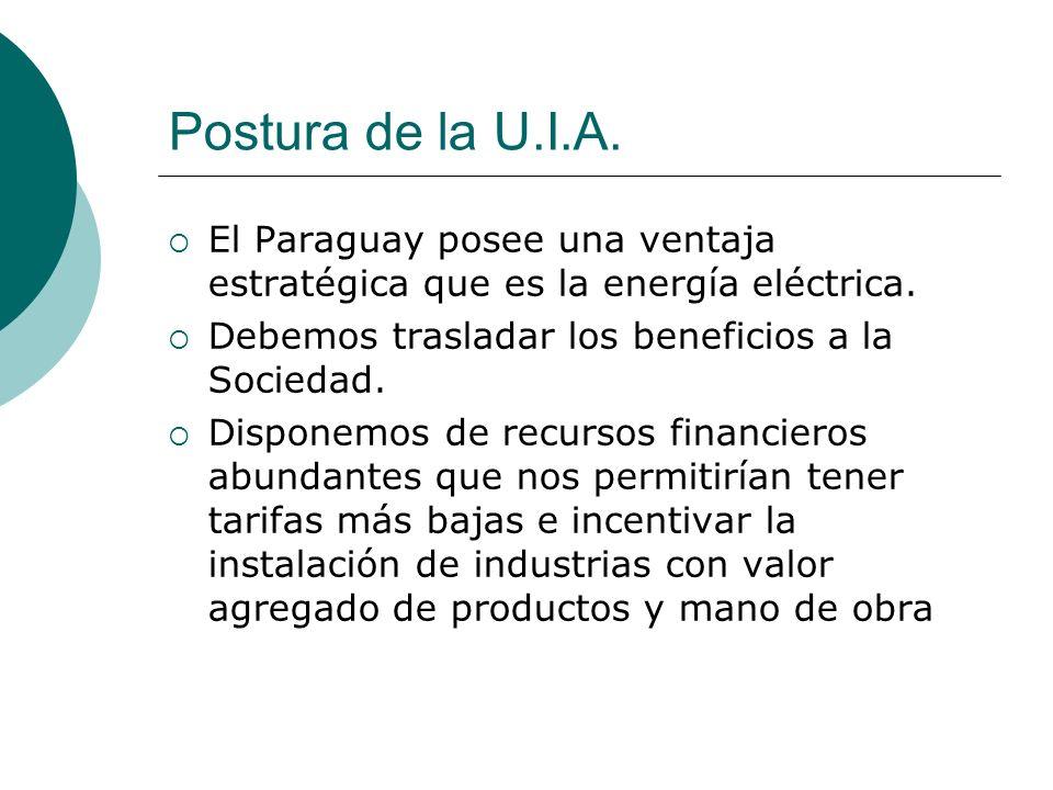 Postura de la U.I.A. El Paraguay posee una ventaja estratégica que es la energía eléctrica. Debemos trasladar los beneficios a la Sociedad. Disponemos