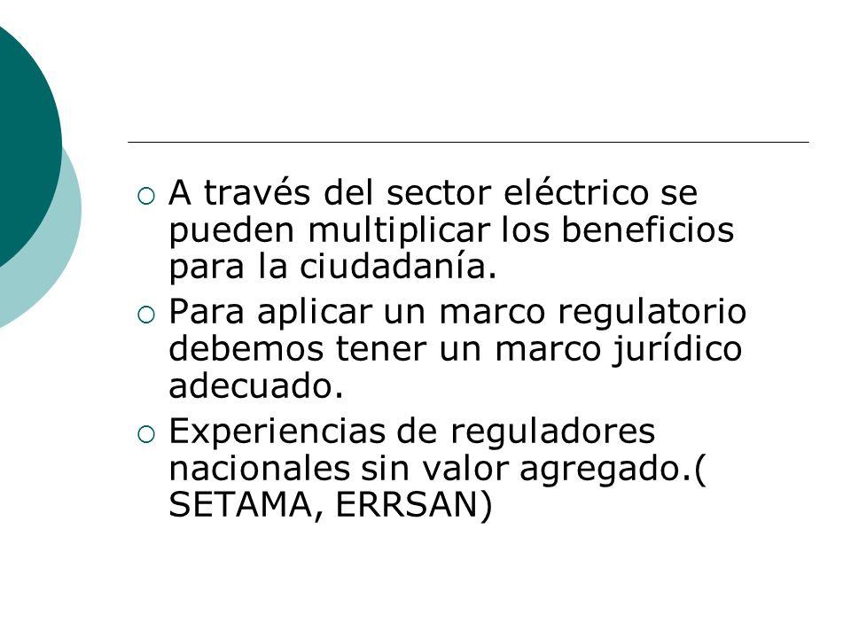 A través del sector eléctrico se pueden multiplicar los beneficios para la ciudadanía. Para aplicar un marco regulatorio debemos tener un marco jurídi