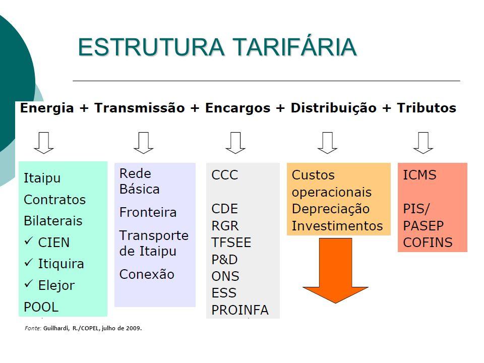 ESTRUTURA TARIFÁRIA 18 Professor Ildo Luís Sauer Universidade de São Paulo Fonte: Guilhardi, R./COPEL, julho de 2009.
