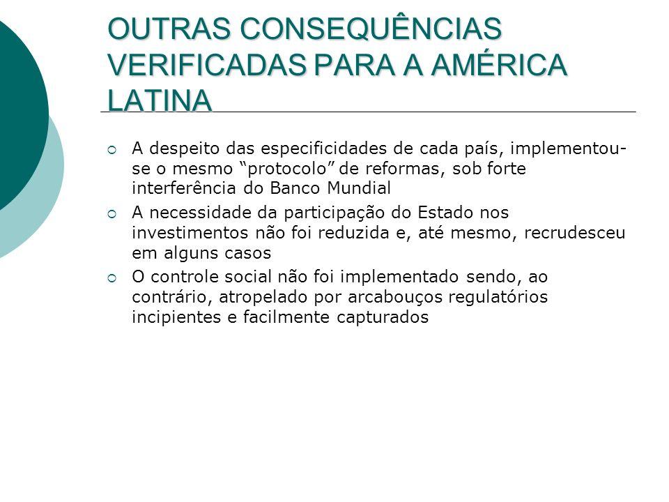 OUTRAS CONSEQUÊNCIAS VERIFICADAS PARA A AMÉRICA LATINA A despeito das especificidades de cada país, implementou- se o mesmo protocolo de reformas, sob