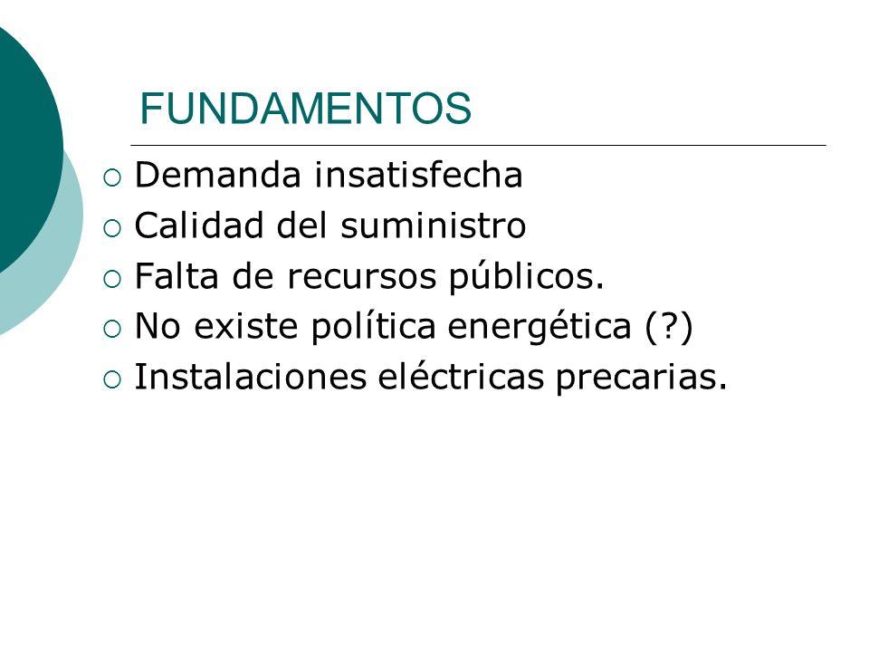 FUNDAMENTOS Demanda insatisfecha Calidad del suministro Falta de recursos públicos. No existe política energética (?) Instalaciones eléctricas precari