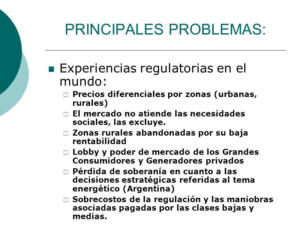 PRINCIPALES PROBLEMAS: Experiencias regulatorias en el mundo: Precios diferenciales por zonas (urbanas, rurales) El mercado no atiende las necesidades