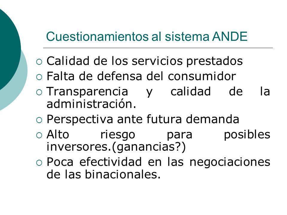 Cuestionamientos al sistema ANDE Calidad de los servicios prestados Falta de defensa del consumidor Transparencia y calidad de la administración. Pers