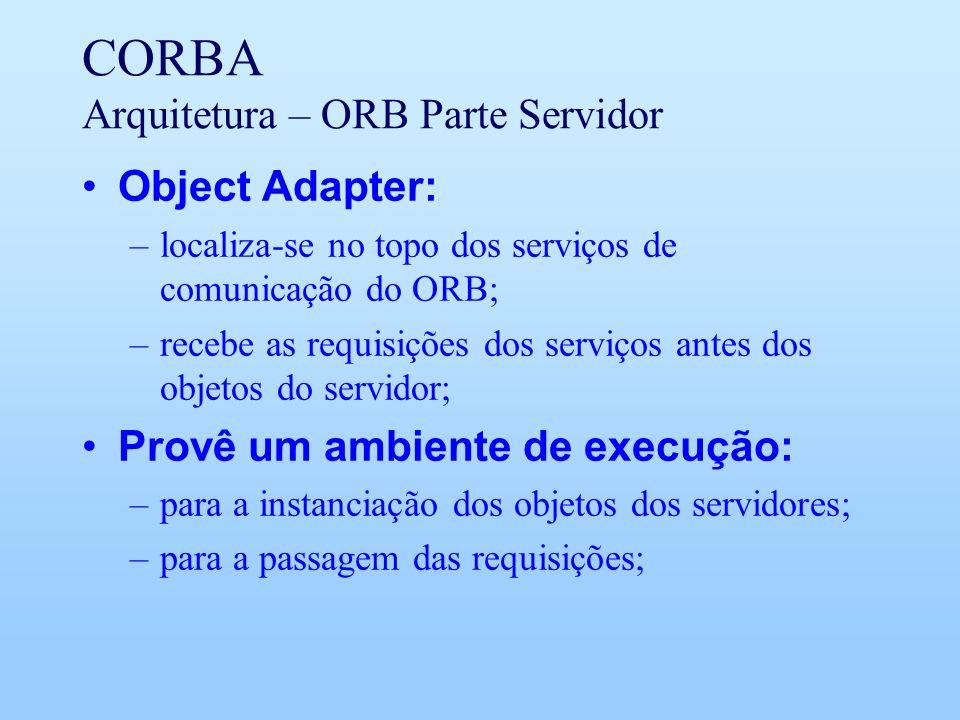 CORBA Arquitetura – ORB Parte Servidor Object Adapter: –localiza-se no topo dos serviços de comunicação do ORB; –recebe as requisições dos serviços antes dos objetos do servidor; Provê um ambiente de execução: –para a instanciação dos objetos dos servidores; –para a passagem das requisições;