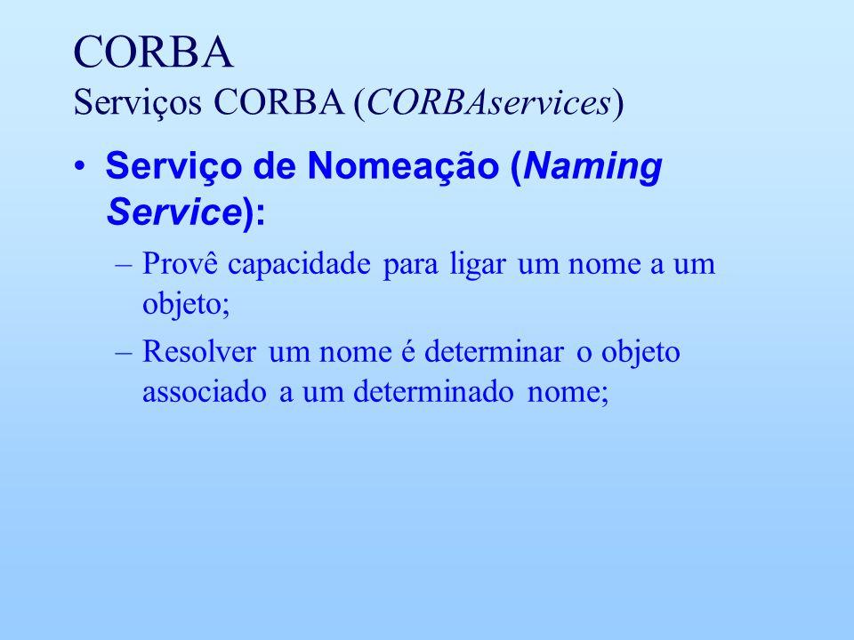 CORBA Serviços CORBA (CORBAservices) Serviço de Nomeação (Naming Service): –Provê capacidade para ligar um nome a um objeto; –Resolver um nome é determinar o objeto associado a um determinado nome;